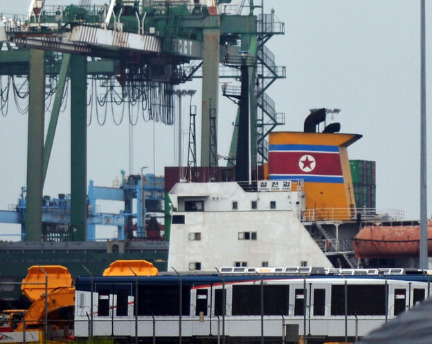 View of North Korean vessel at the Manzanillo Port in Colon on Tuesday.