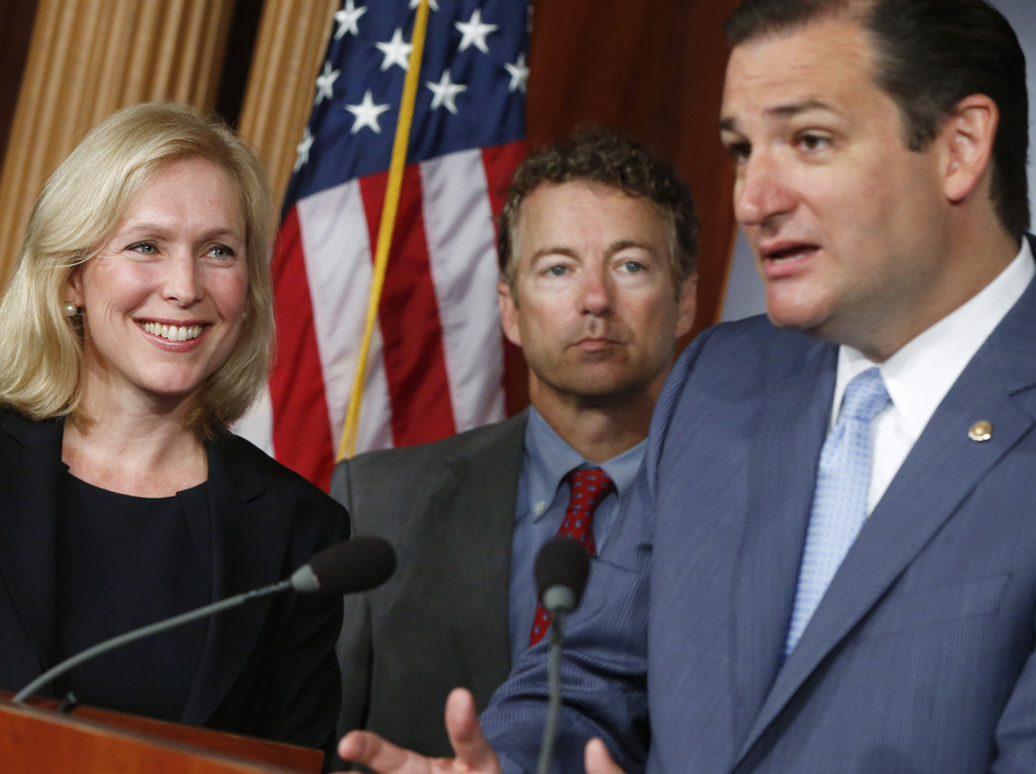 Sen. Kirsten Gillibrand, a New York Democrat, at a news conference Tuesday with Republican Sens. Ted Cruz of Texas (right) and Rand Paul of Kentucky. Paul and Cruz have endorsed Gillibrand's bill regarding sexual assault in the military. (Charles Dharapak/AP)