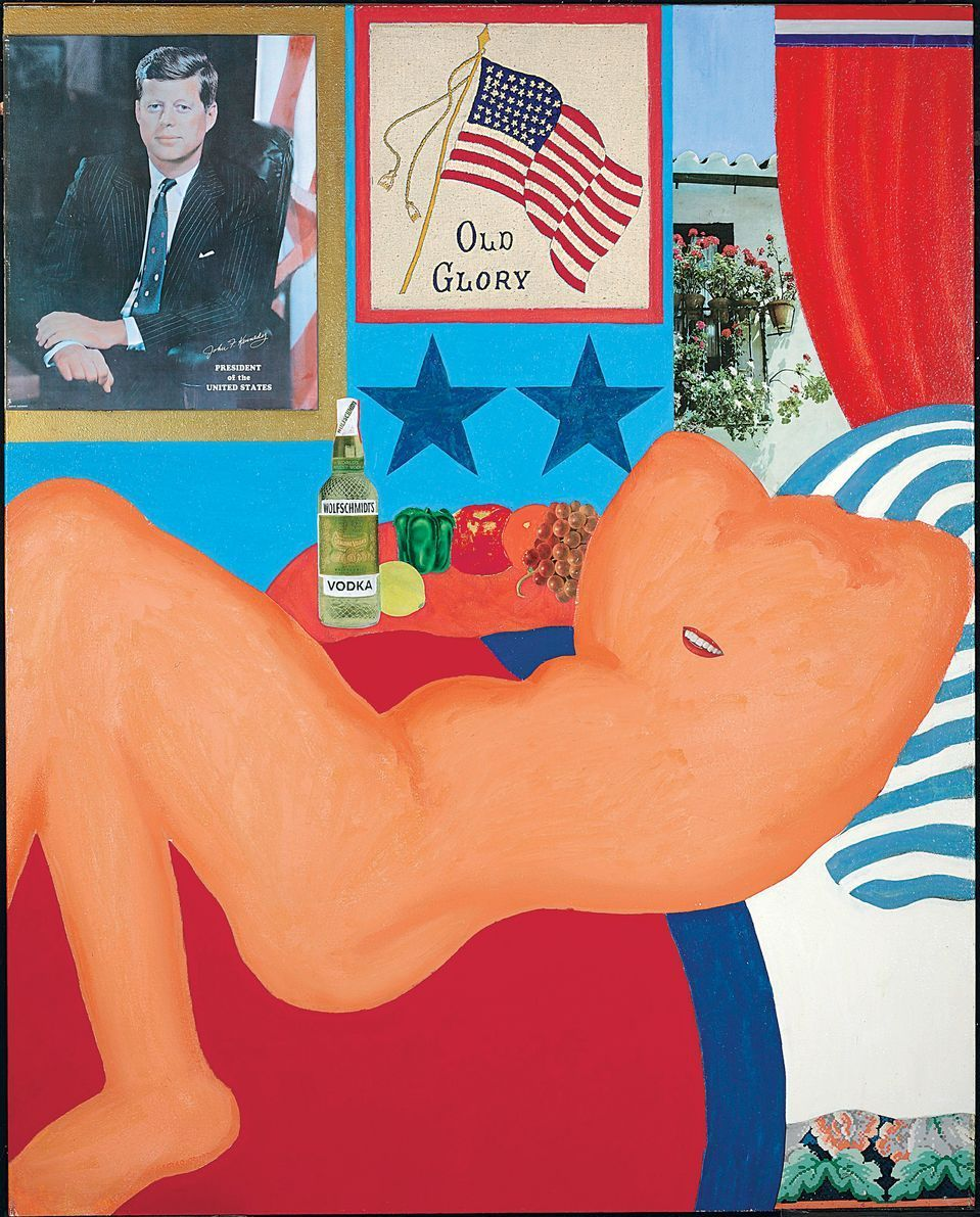 Wesselmann's Great American Nude series depicts women sprawled in front of patriotic backdrops. Above, his 1961 mixed media work Great American Nude #21.