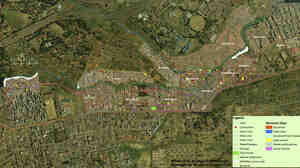 The Mathare Valley, shown here in an aerial map, is one of the largest and oldest slums in Nairobi, Kenya. Residents are using hand-held GPS devices to map the area, which comprises 13 villages and is home to nearly 200,000 people.