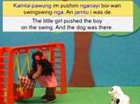 A screen image from a video that professor Carmel O'Shannessy has created. In it, a girl tells a story in