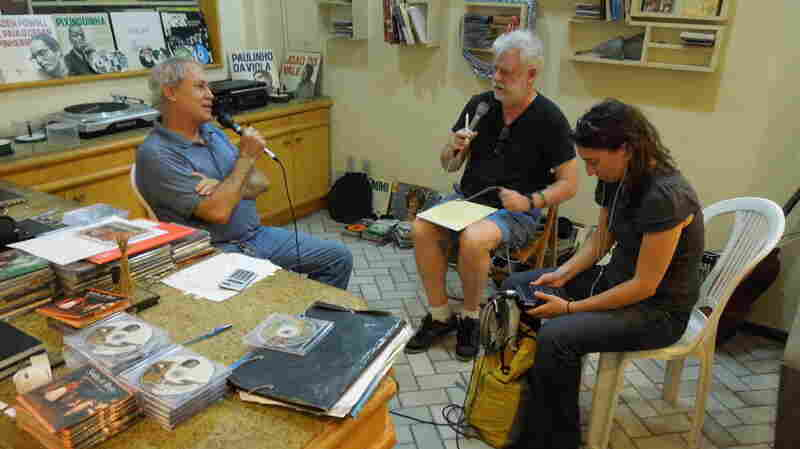 Randy Roberts discusses samba at his record store in Pelourinho, the historic center of Salvador, Brazil.