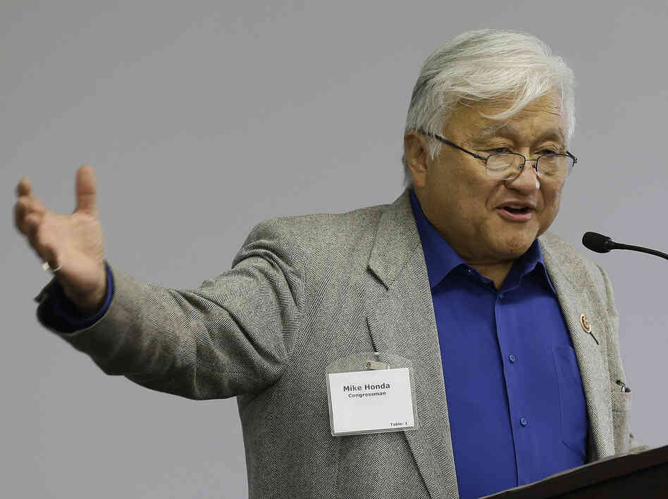 U.S. Rep. Mike Honda speaks during the City of Fremont Legislative Brunch at Tesla Motors in Fremont, Calif., in May.