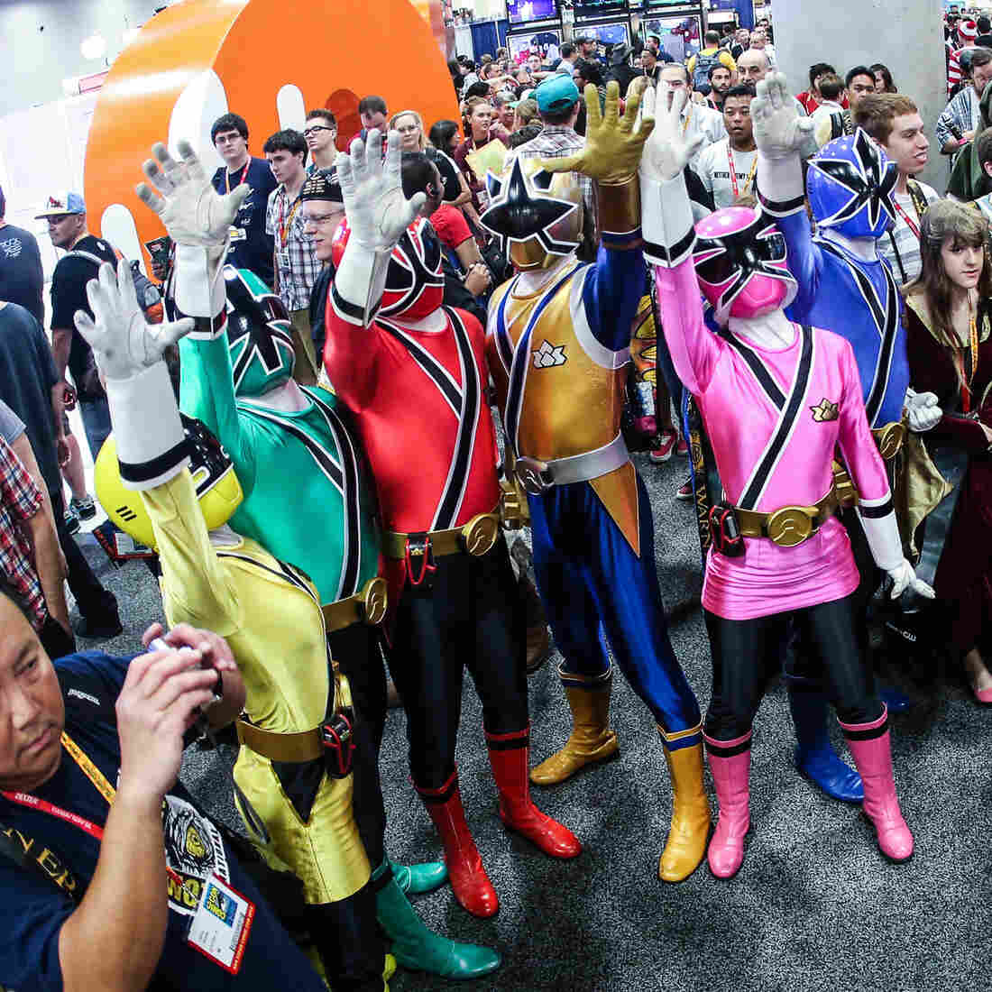This is actually a picture of some Power Rangers from last year's Comic-Con, for reference. Dear Glen: Just pretend all these people are hugging you at once. Sincerely, your editor.