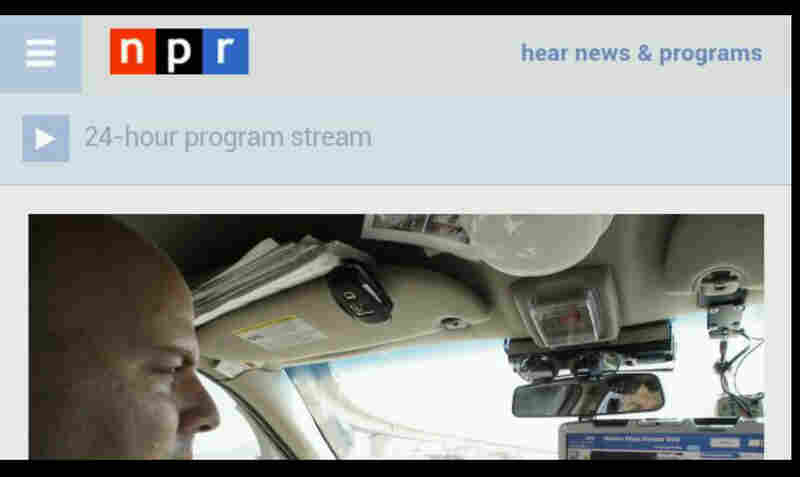 NPR's mobile homepage on Glass.