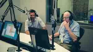 Guy Raz and Carl Kasell in the studio as Kasell reads LOLcat captions for TED Radio Hour.