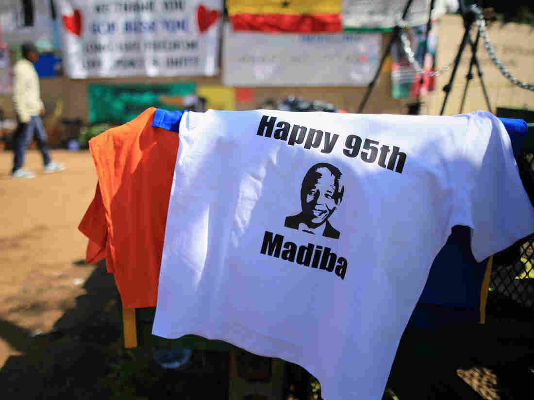 On the eve of Nelson Mandela's 95th birthday, street vendors in Pretoria, South Africa, were selling T-shirts to mark the occasion. Madiba is Mandela's tribal name.