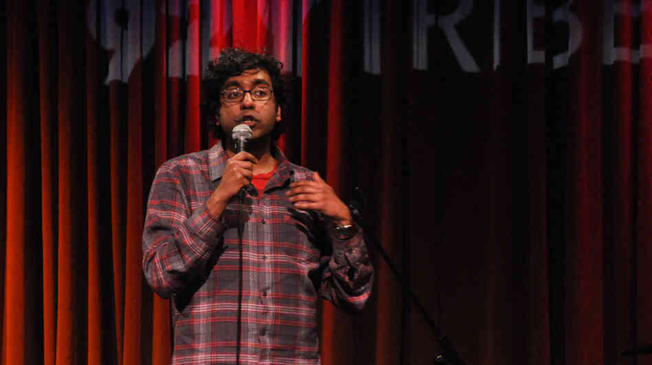 Hari Kondabolu performing at Comedy Below Canal, 92YTribeca's weekly comedy show, on Jan. 2, 2010.