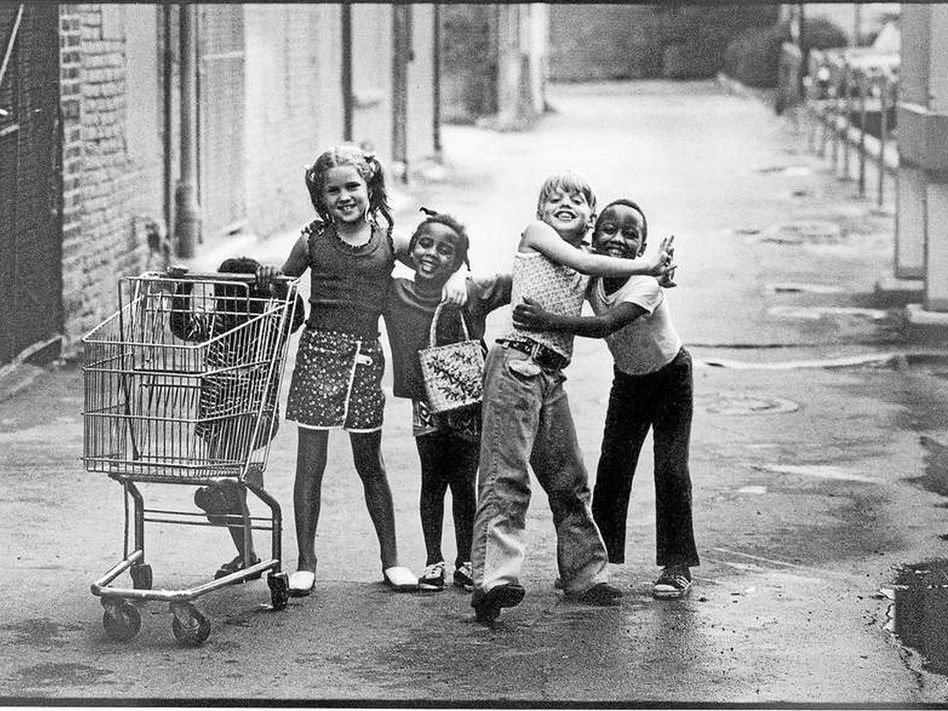 This 1973 photo of five children playing in a Detroit suburb has gone viral on the Internet. The children were Rhonda Shelly, 3 (from left), Kathy Macool, 7, Lisa Shelly, 5, Chris Macool, 9, and Robert Shelly, 6. (Joe Crachiola/Courtesy of The Macomb Daily)