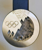 The silver medal design for the 2014 Winter Olympics in Sochi, Russia.