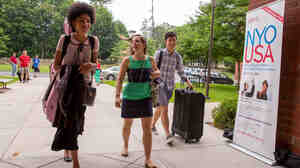 Cellist Angelique Montes, resident advisor Melissa Willams and clarinetist Tom Jeon arrive at Purchase College, State University of New York to begin their NYO-USA adventure.