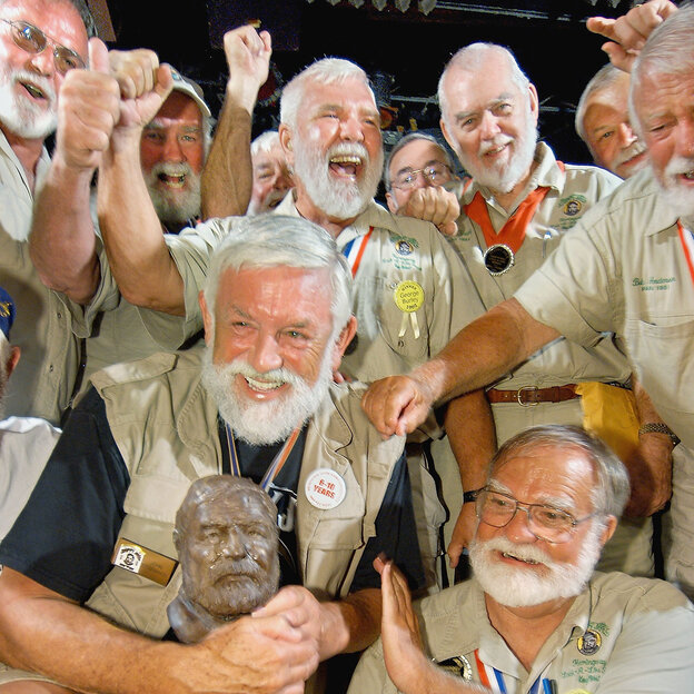 "John Stubbings (front left) of North Carolina receives congratulations after winning the 2004 ""Papa"" Ernest Hemingway Look-Alike Contest at"