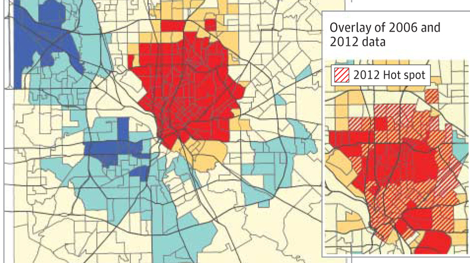 People living in affluent neighborhoods in north central Dallas were most likely to get infected in 2012. Those neighborhoods were also hit hardest in the 2006 outbreak. (JAMA)