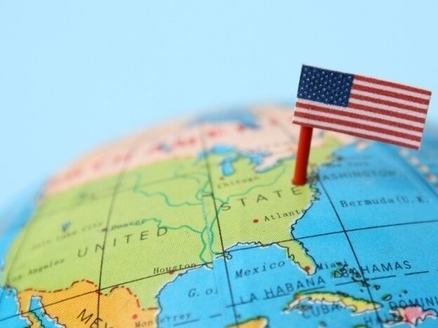 A globe showing the United States of America.