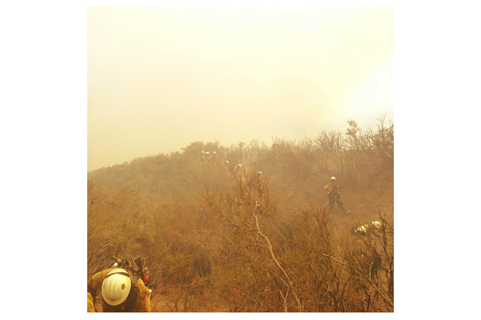 """The Klamath Hotshots cutting some fire line. You know it's a good day on the fireline when you look at each other at the end of it and everyone's two front teeth are covered in dirt from working hard but smiling just as hard."""