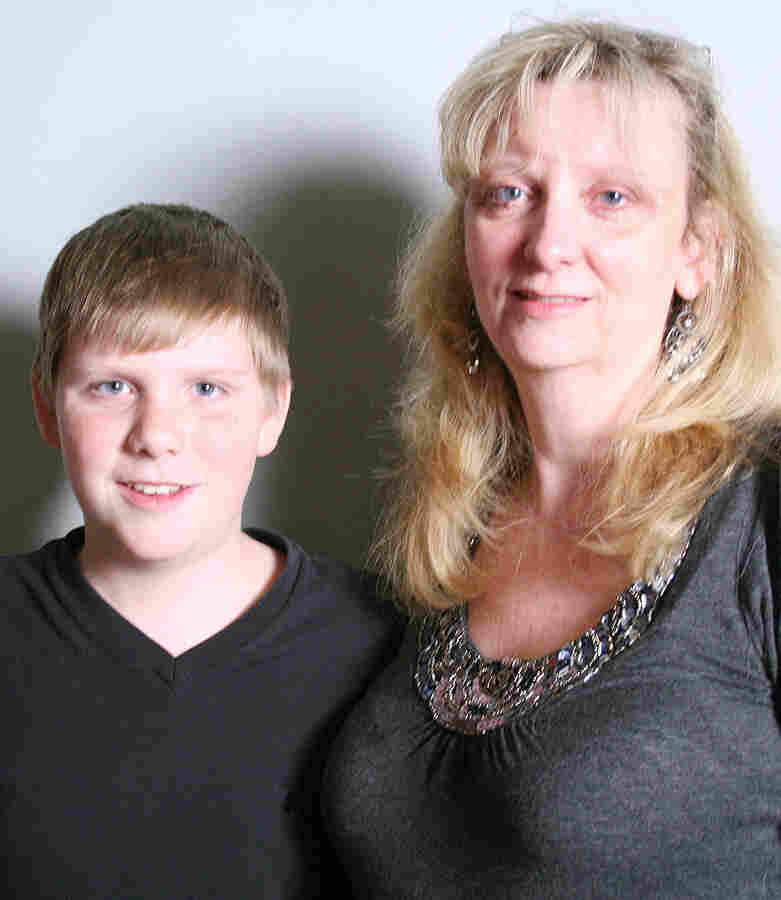 Thirteen-year-old Jack Bruschetti and his mom, Lynne, during a recent visit to StoryCorps.