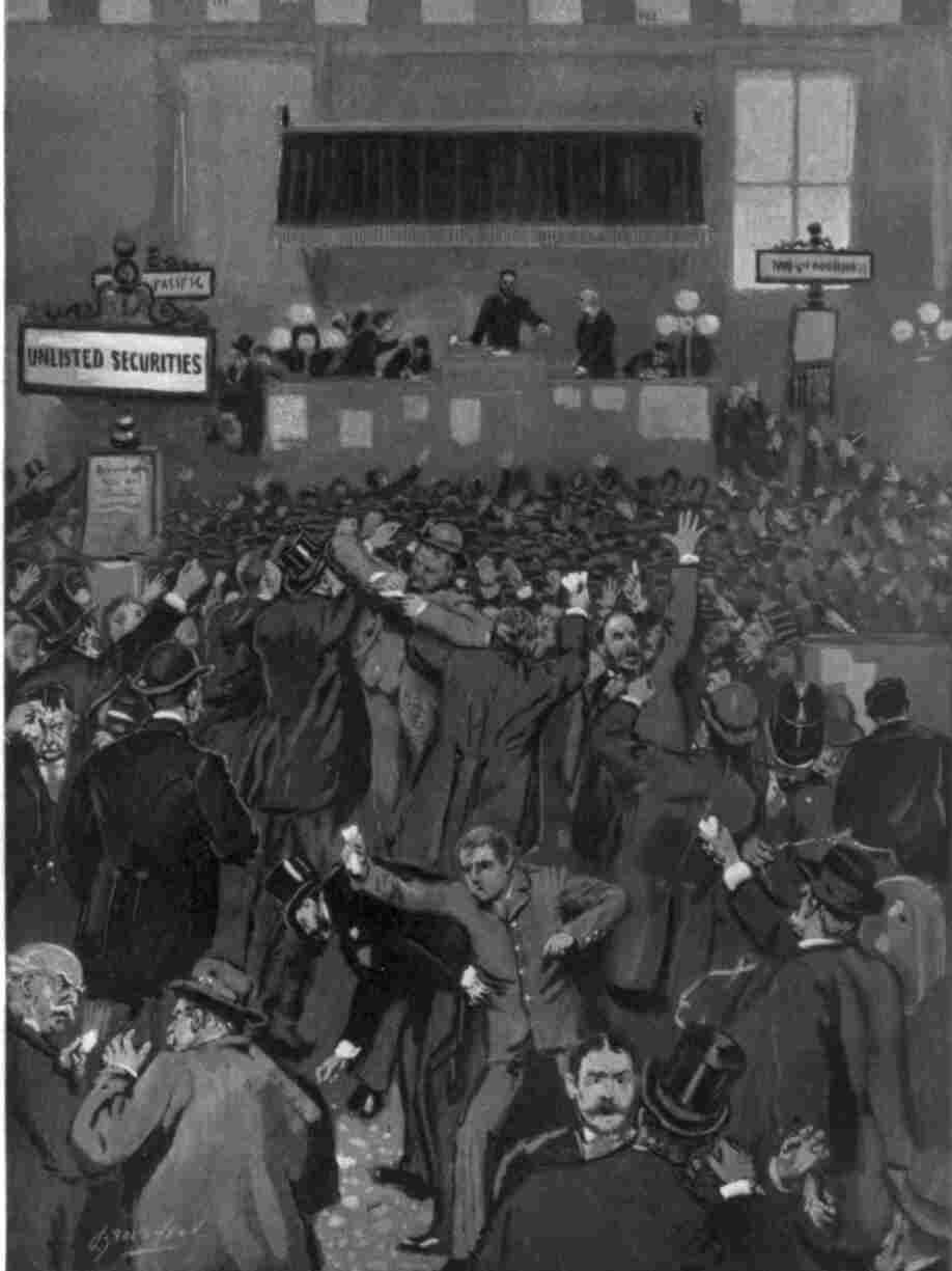 The Cleveland Panic: A scene at the New York Stock Exchange on the morning of May 5, 1893.