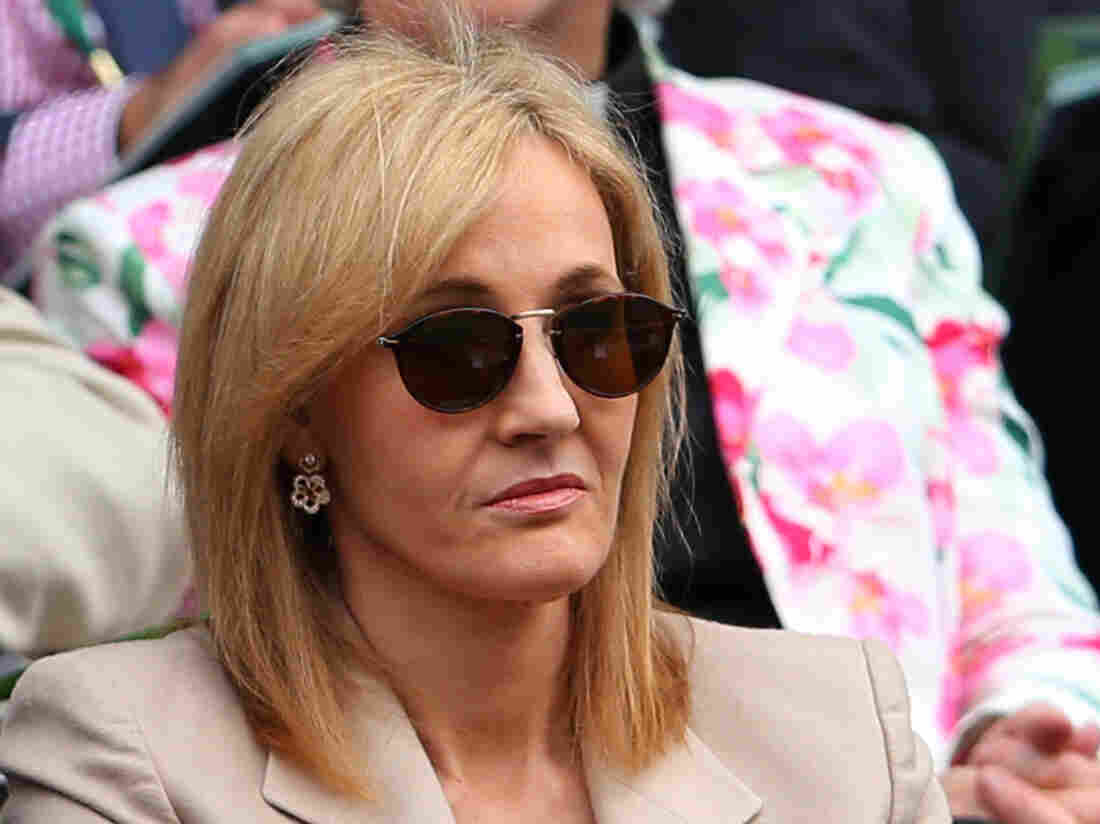 Looking a little mysterious: J.K. Rowling in the stands at the Wimbledon Lawn Tennis Championships last month.