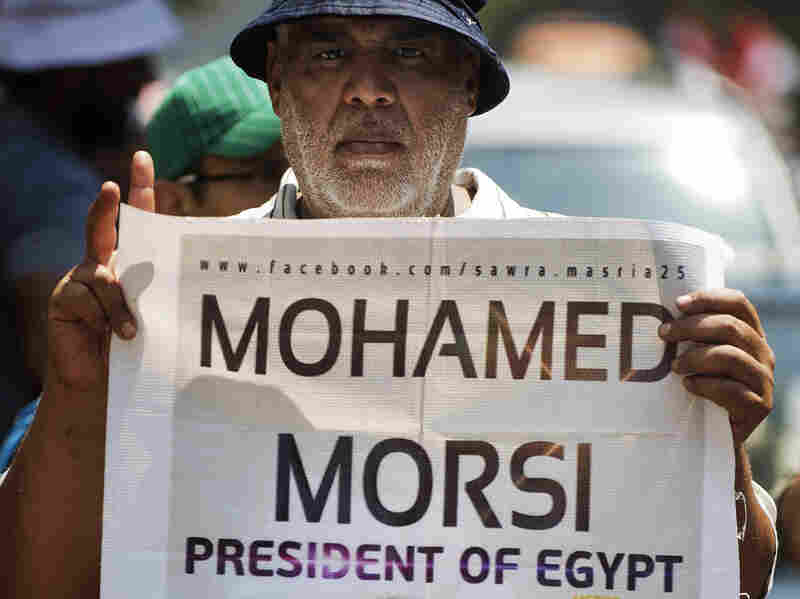 In Cairo on July 17, supporters of the ousted president demonstrate for his reinstatement.