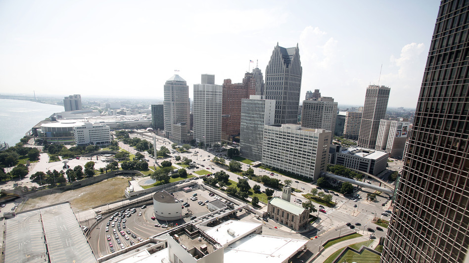 A portion of downtown Detroit along the Detroit river. (Getty Images)