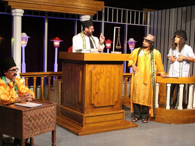 Zang-e-Khatar, or Danger Bell, makes fun of government officials and other powerful figures in Afghanistan. Cast members are shown performing a skit during a taping of the show.