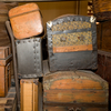 Old suitcases displayed in the Ellis Island Immigration Museum in New York City.