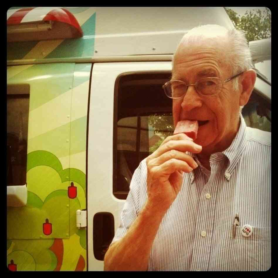 Carl Kasell, NPR Wait Wait... Don't Tell Me! official judge and scorekeeper, enjoying a frozen treat.