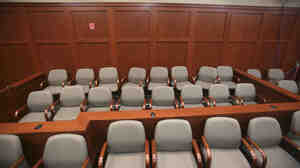 The jury box for the George Zimmerman trial in Sanford, Fla., on Monday.