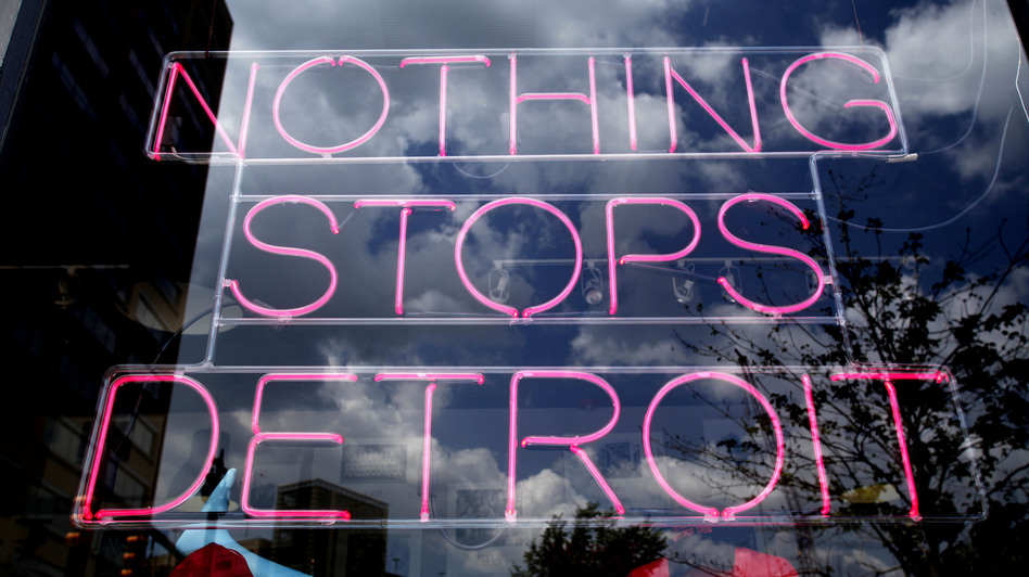 This Detroit store's neon sign sends a message. (Bill Pugliano/Getty Images)
