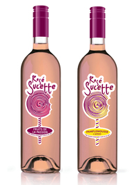 Rouge Sucette is made from 75 percent grapes, 25 percent water, sugar and cola flavoring and is meant to be served chilled.