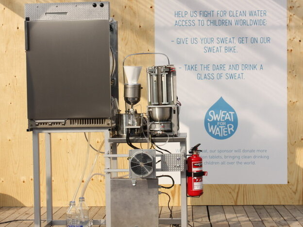 The Sweat Machine was unveiled as part of a UNICEF campaign promoting safe drinking water.