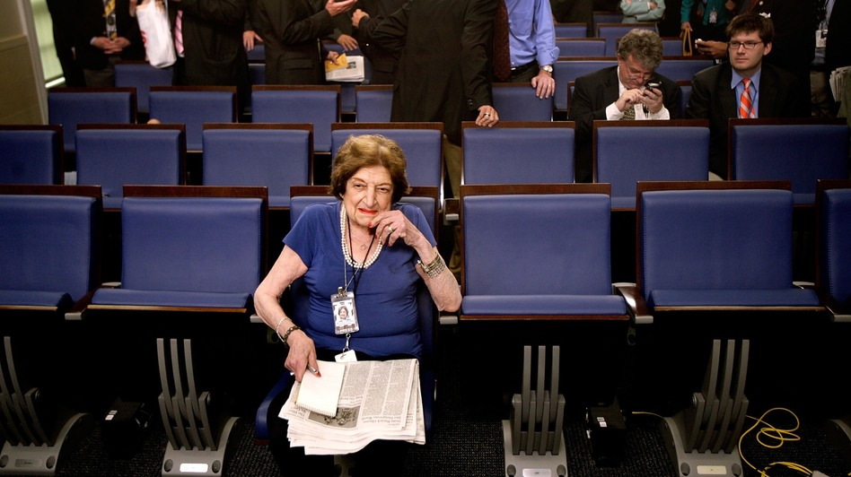 Veteran White House correspondent Helen Thomas broke barriers and became a White House fixture, but her famous bluntness caused her downfall in the end. (Getty Images)