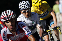Spain's Joaquim Rodriguez Oliver rides ahead of Colombia's Nairo Quintana in the coveted white jersey and Britain's Christopher Froome in yellow during the 75-mile 20th stage of the Tour.