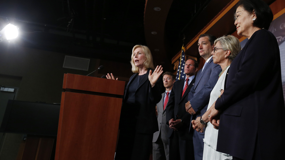 Sen. Kirsten Gillibrand speaks to reporters Tuesday. With her Sens. Rand Paul, R-Ky.,  Richard Blumenthal, D-Conn., Ted Cruz, R-Texas, Barbara Boxer, D-Calif. and Mazie Hirono, D-Hawaii, all of whom have endorsed her bill on military sexual assault. (Charles Dharapak/AP)