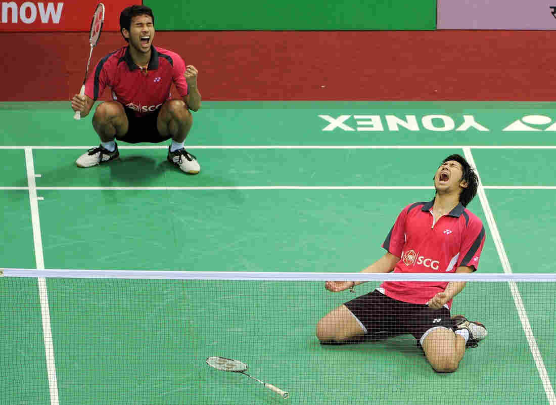 Happier Times: Badminton players Issara Bodin, right, and Jongjit Maneepong of Thailand celebrate after defeating Korean badminton players Ko Sung Hyun and Yoo Yeon Seong at the Yonex-Sunrise India Open 2012 in New Delhi on in April of 2012.