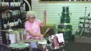 """Grandma Drummer"" — Mary Hvizda — in action."