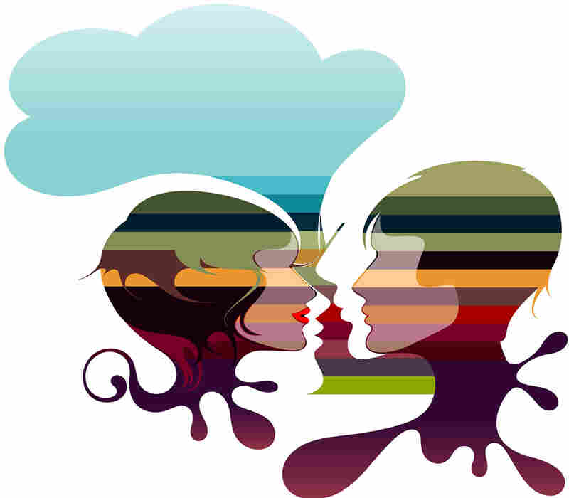 An abstract illustration showing two talking heads with a speech bubble overhead.