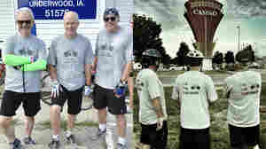 (left picture) Don Gonyea, Brian Naylor and Scott Horsley on day 1 of the RAGBRAI ride, team No Pie Refused is all smiles in anticipation of the infinite varieties of peach pie (a group favorite) to be tasted on the road ahead.