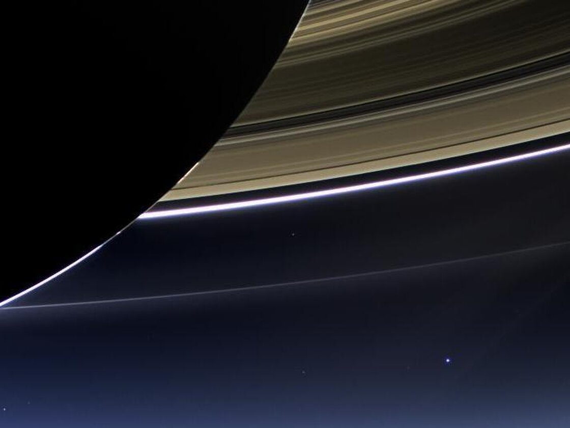 In this rare image taken on July 19, 2013, the wide-angle camera on NASA's Cassini spacecraft has captured Saturn's rings and our planet Earth and its moon in the same frame.