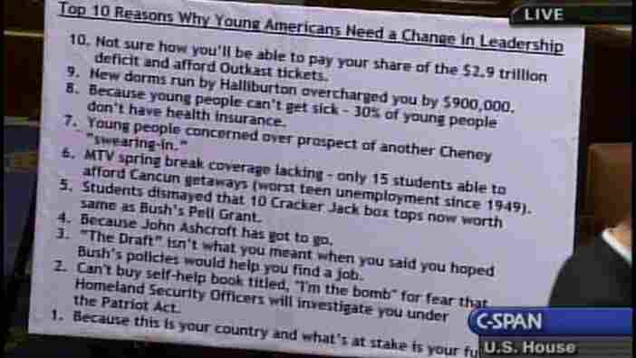 "A floor chart lists the ""top 10 reasons why young Americans need a change in leadership."""