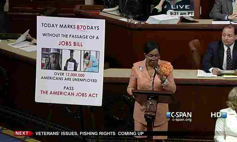 Rep. Frederica Wilson (D-Fla.) always has a floor chart with her on the House f