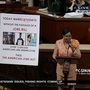 Rep. Frederica Wilson (D-Fla.) always has a floor chart with her on the House floor to help her tally the