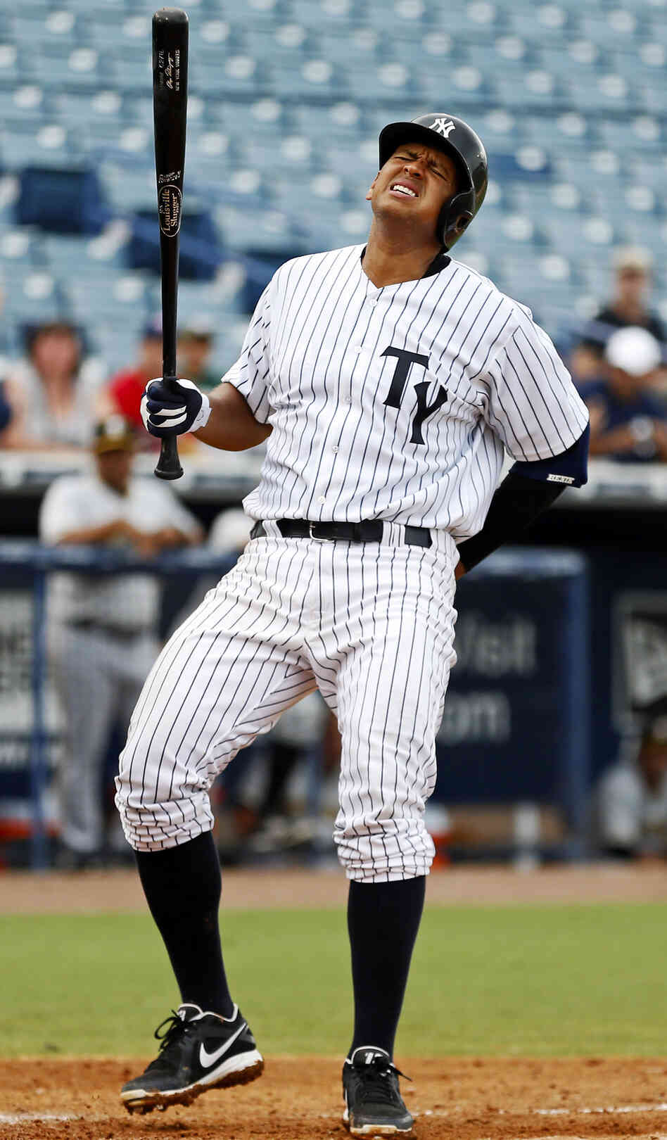 Alex Rodriguez during a July 13 game in Florida, where he was playing for the minor league Tampa Yankees while trying to recover from recent injuries.