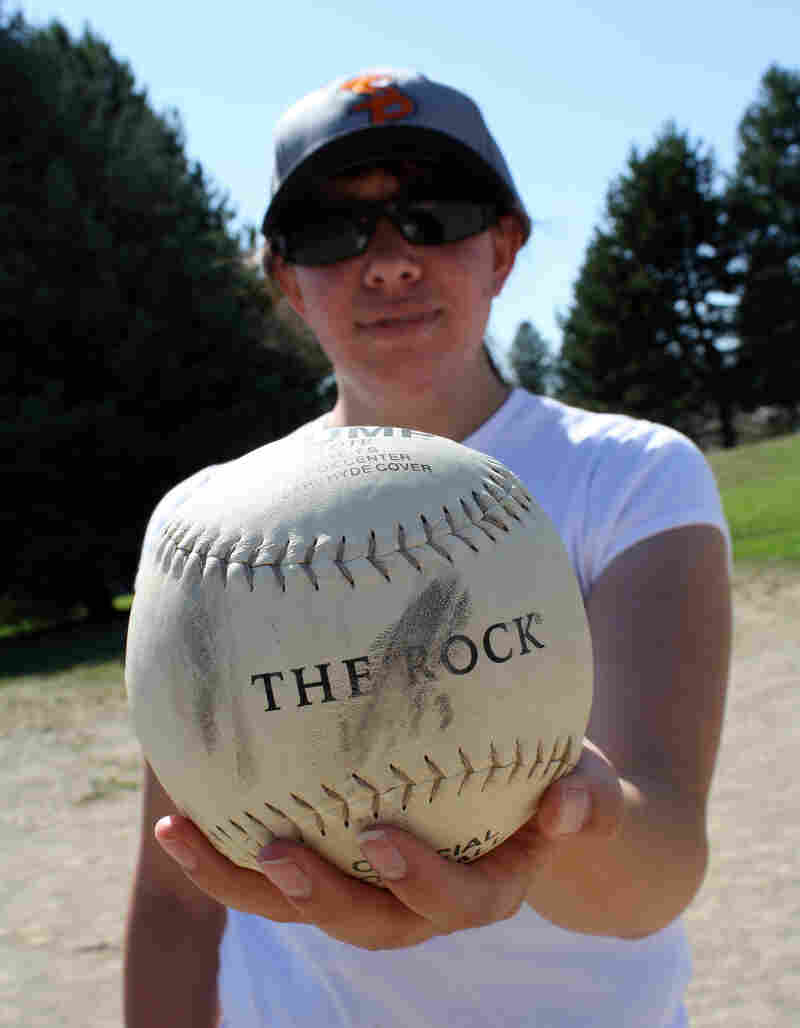 Kelsie Weir is the pitcher for the Spokane Pride, one of the positions in Beep Baseball that requires some vision. The balls contain an electronic beeping device so blind players can listen for it.