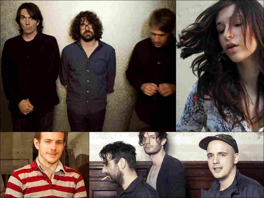 Clockwise, from upper left: Sebadoh, Lucy Schwartz, Moderat and Kyle Morton of the band Typhoon