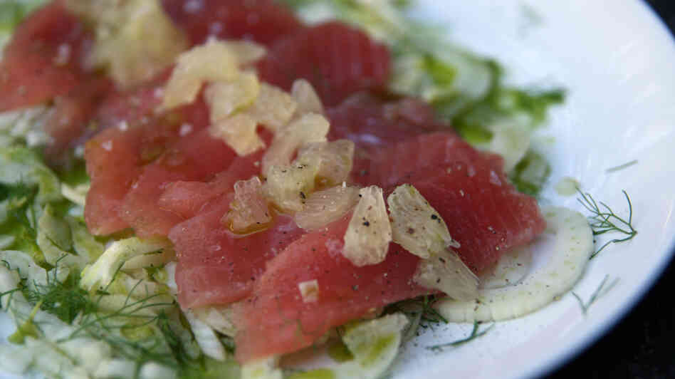 Italian-style Crudo with Basil Oil, Fennel and Lemon