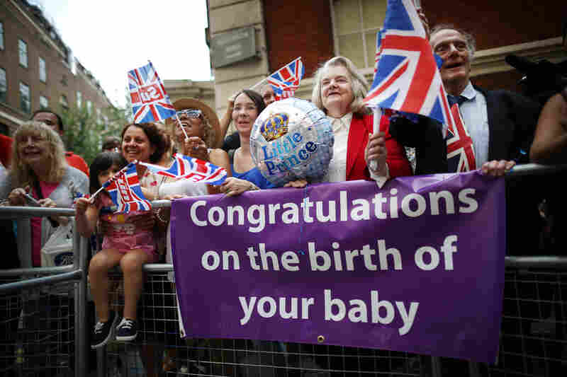 Well-wishers wait for the duchess and her newborn son to emerge from St. Mary's Hospital in London. She gave birth at 4:24 p.m. London time, with Prince William at her side.