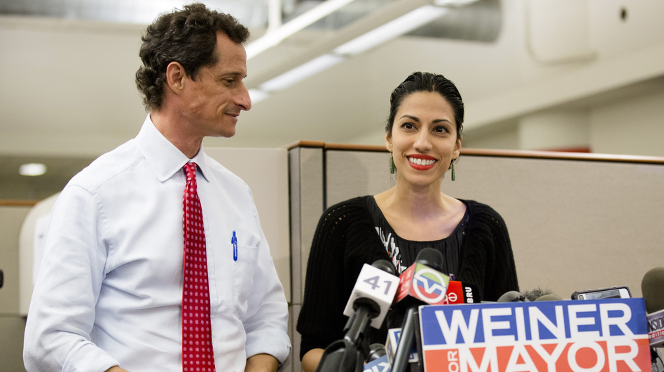 Huma Abedin, alongside her husband, New York mayoral candidate Anthony Weiner, speaks during a news conference at the Gay Men's Health Crisis headquarters in New York City on Tuesday. (AP)