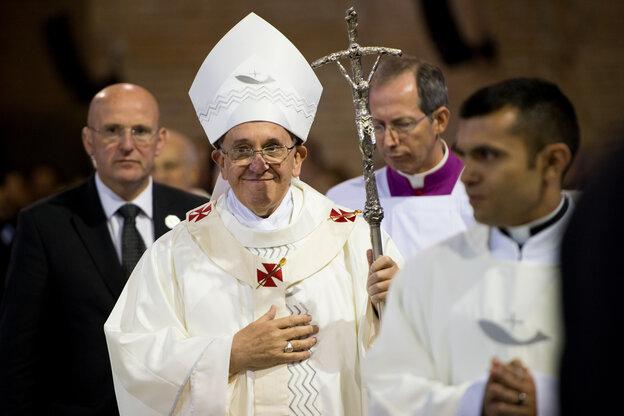 Pope Francis celebrates Mass at the Basilica of the National Shrine of Our Lady Aparecida on Wednesday in Aparecida, Brazil.