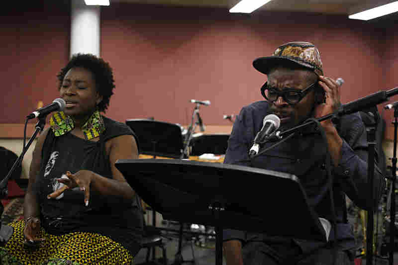 "Vocalists Abena Koomson and Sahr Ngaujah — who starred in the off-Broadway and Broadway productions of FELA!, the musical based on the life of Nigerian Afrobeat pioneer Fela Kuti — join Kronos to rehearse the iconic Fela song ""Sorrow, Tears and Blood."""